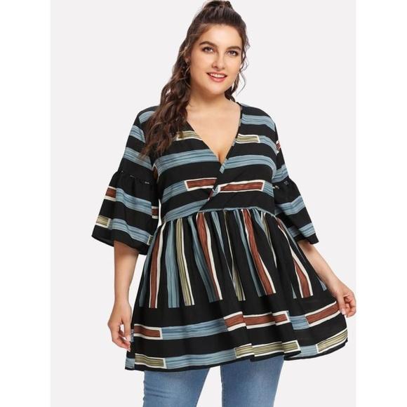 da5a6a01b5d Plus Size Surplice Neckline Striped Blouse